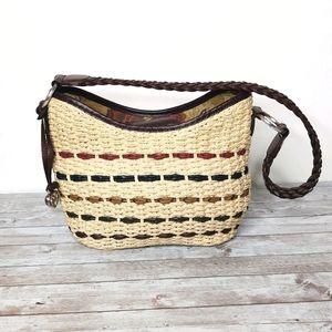 Brighton Woven Straw & Leather Shoulder Bag